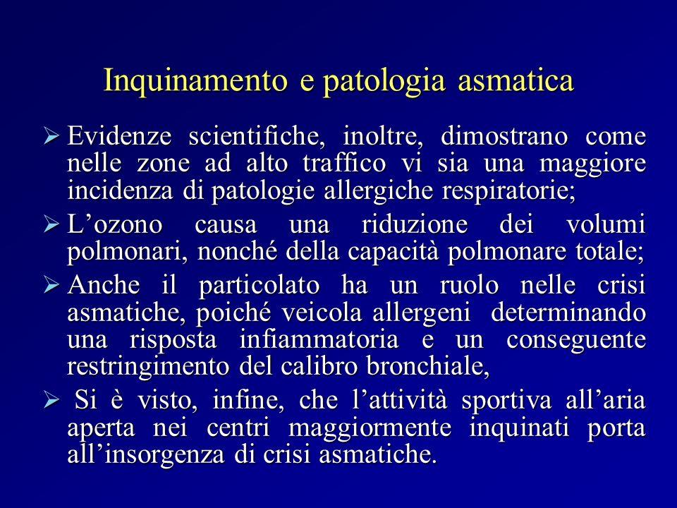Inquinamento e patologia asmatica Evidenze scientifiche, inoltre, dimostrano come nelle zone ad alto traffico vi sia una maggiore incidenza di patolog