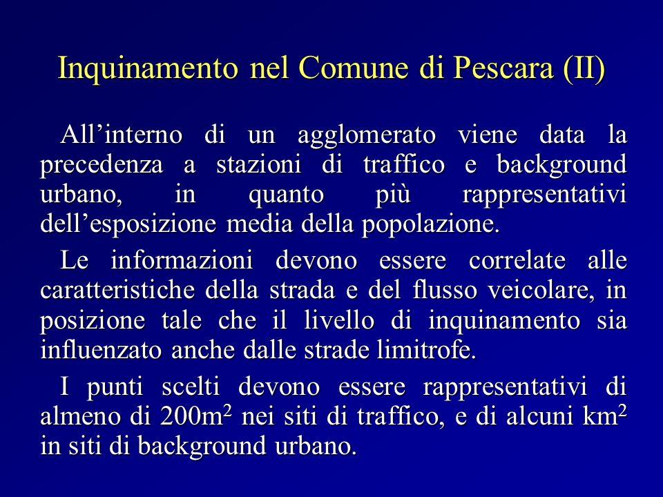 Inquinamento nel Comune di Pescara (II) Allinterno di un agglomerato viene data la precedenza a stazioni di traffico e background urbano, in quanto pi