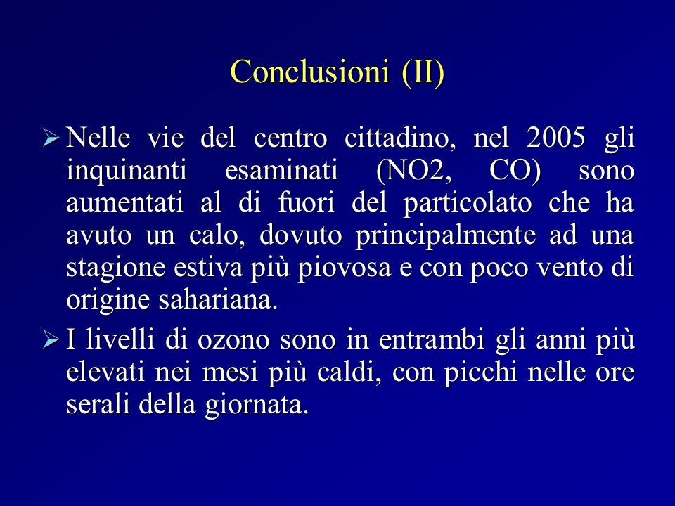 Conclusioni (II) Nelle vie del centro cittadino, nel 2005 gli inquinanti esaminati (NO2, CO) sono aumentati al di fuori del particolato che ha avuto u