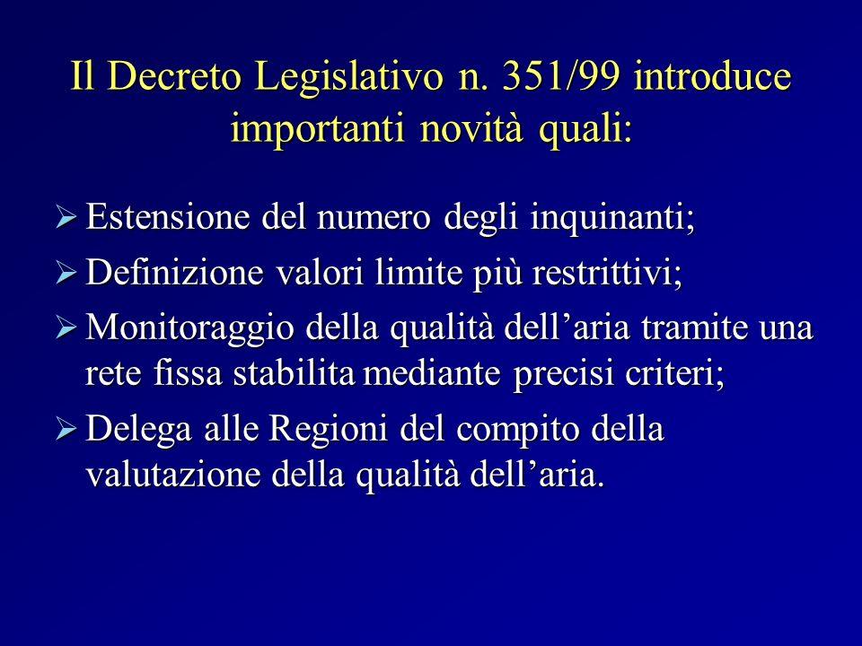 Il Decreto Legislativo n. 351/99 introduce importanti novità quali: Estensione del numero degli inquinanti; Estensione del numero degli inquinanti; De
