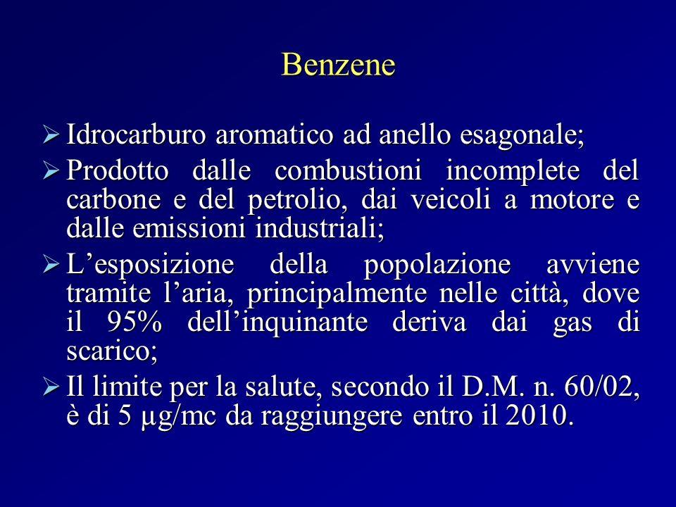 Particolato atmosferico Le polveri PM 10 hanno un diametro di 10µ e sono dette inalabili, mentre le PM 2,5 hanno diametro di 2,5µ e sono dette respirabili; Le polveri PM 10 hanno un diametro di 10µ e sono dette inalabili, mentre le PM 2,5 hanno diametro di 2,5µ e sono dette respirabili; Il particolato si origina sia da fonti naturali sia antropogeniche (ossidazione degli idrocarburi e degli ossidi di zolfo e azoto); Il particolato si origina sia da fonti naturali sia antropogeniche (ossidazione degli idrocarburi e degli ossidi di zolfo e azoto); La permanenza in atmosfera è influenzata dalle condizioni climatiche; La permanenza in atmosfera è influenzata dalle condizioni climatiche; Il limite giornaliero secondo il D.M.