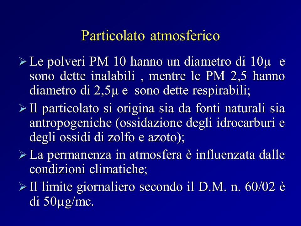 Particolato atmosferico Le polveri PM 10 hanno un diametro di 10µ e sono dette inalabili, mentre le PM 2,5 hanno diametro di 2,5µ e sono dette respira