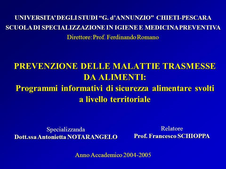 PREVENZIONE DELLE MALATTIE TRASMESSE DA ALIMENTI: Programmi informativi di sicurezza alimentare svolti a livello territoriale Specializzanda Dott.ssa