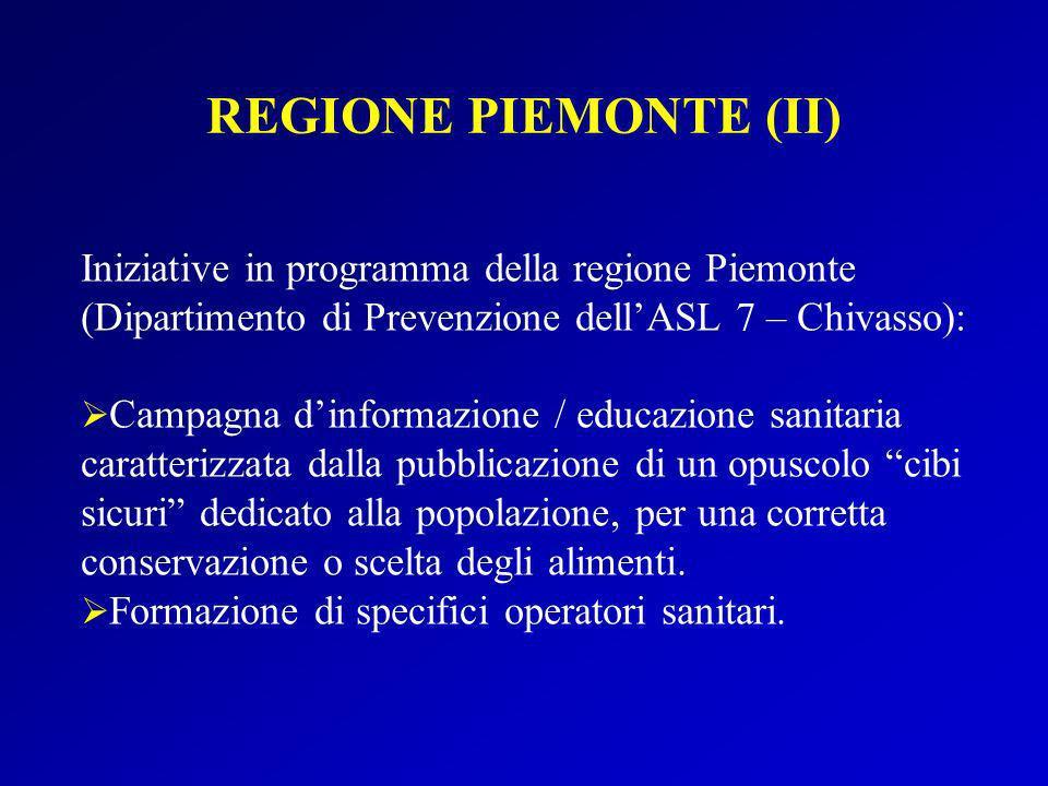 Iniziative in programma della regione Piemonte (Dipartimento di Prevenzione dellASL 7 – Chivasso): Campagna dinformazione / educazione sanitaria carat