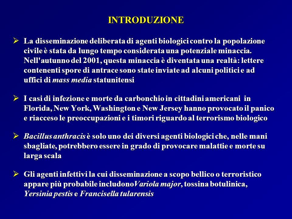 PUNTI CHIAVE RELATIVI ALLANTRACE COME ARMA BIOLOGICA (1) Agente: B.