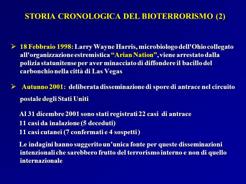 PUNTI CHIAVE RELATIVI A VARIOLA MAJOR COME ARMA BIOLOGICA (2) Presentazione clinica: fase prodromica similinfluenzale seguita dopo 2-3 giorni dal tipico esantema a distribuzione centrifuga Presentazione clinica: fase prodromica similinfluenzale seguita dopo 2-3 giorni dal tipico esantema a distribuzione centrifuga Letalità: 30% nelle popolazioni non vaccinate Letalità: 30% nelle popolazioni non vaccinate Isolamento: in strutture dotate di pressione negativa Isolamento: in strutture dotate di pressione negativa CDC: Variola major