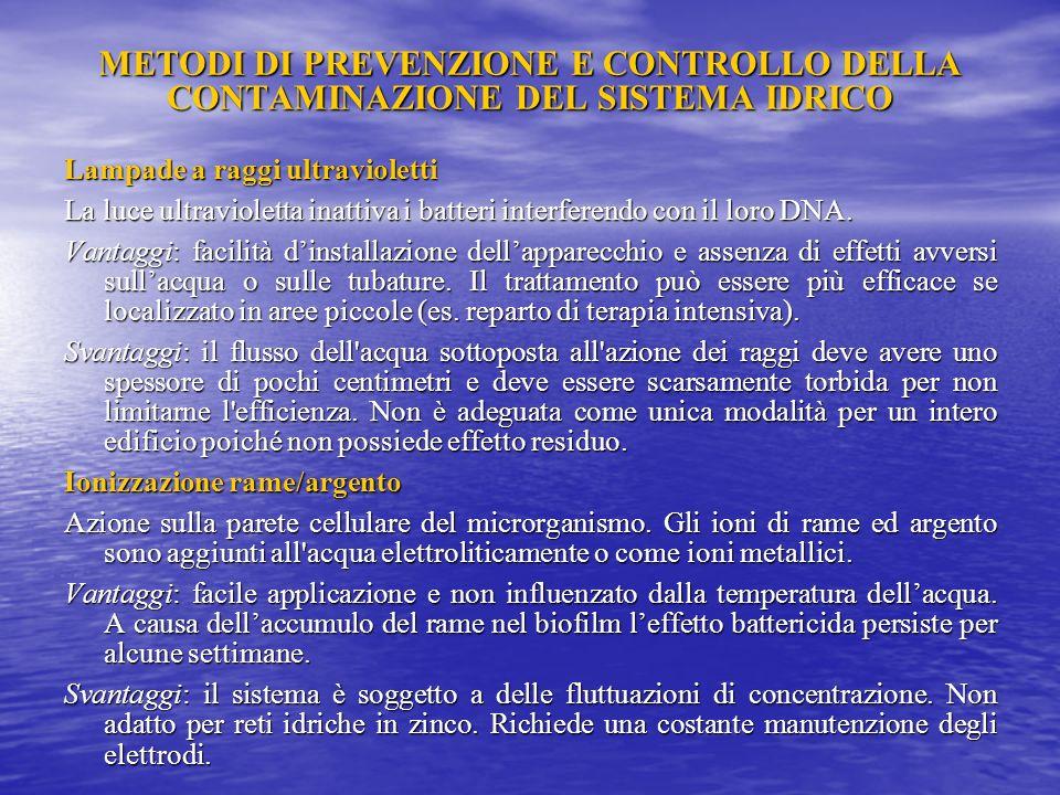 METODI DI PREVENZIONE E CONTROLLO DELLA CONTAMINAZIONE DEL SISTEMA IDRICO Clorazione Iperclorazione shock Il metodo: Deve essere effettuata su acqua a