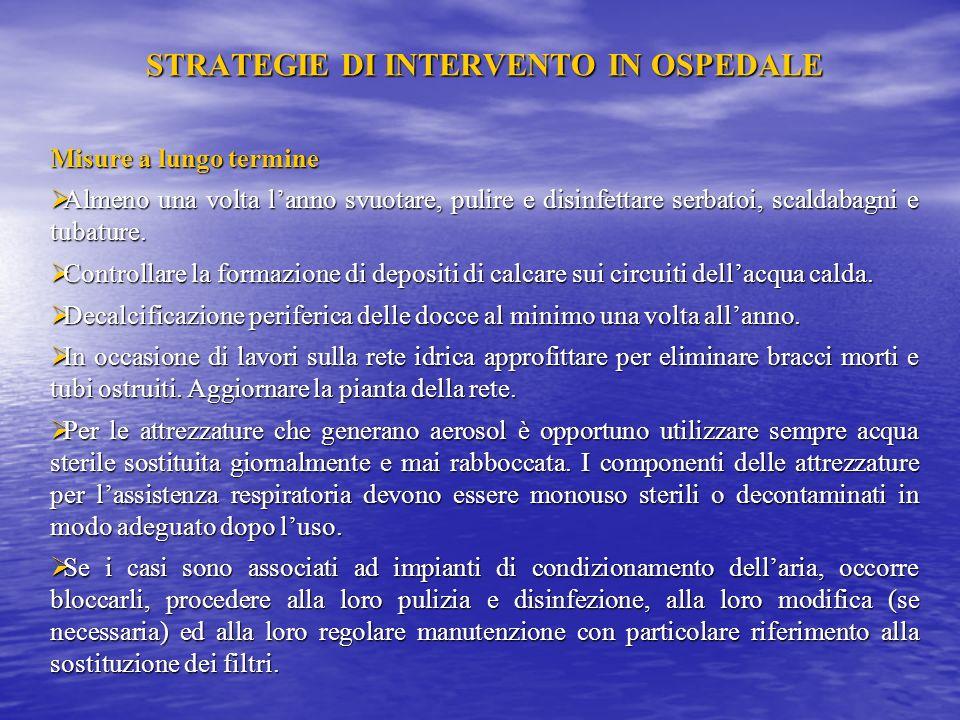 STRATEGIE DI INTERVENTO IN OSPEDALE Misure a breve termine Poiché la disinfezione puntuale di una rete senza misure strutturali ha solo unazione tempo