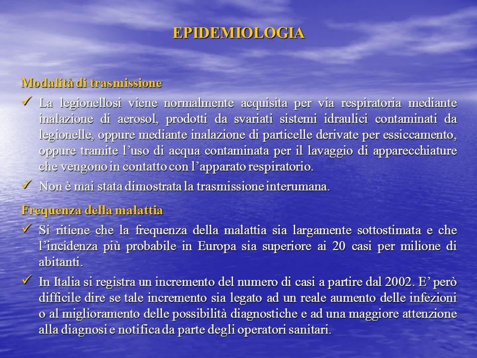 EPIDEMIOLOGIA Condizioni naturali favorenti Legionella è ampiamente diffusa in natura, dove si trova associata alla presenza di acqua (superfici lacus