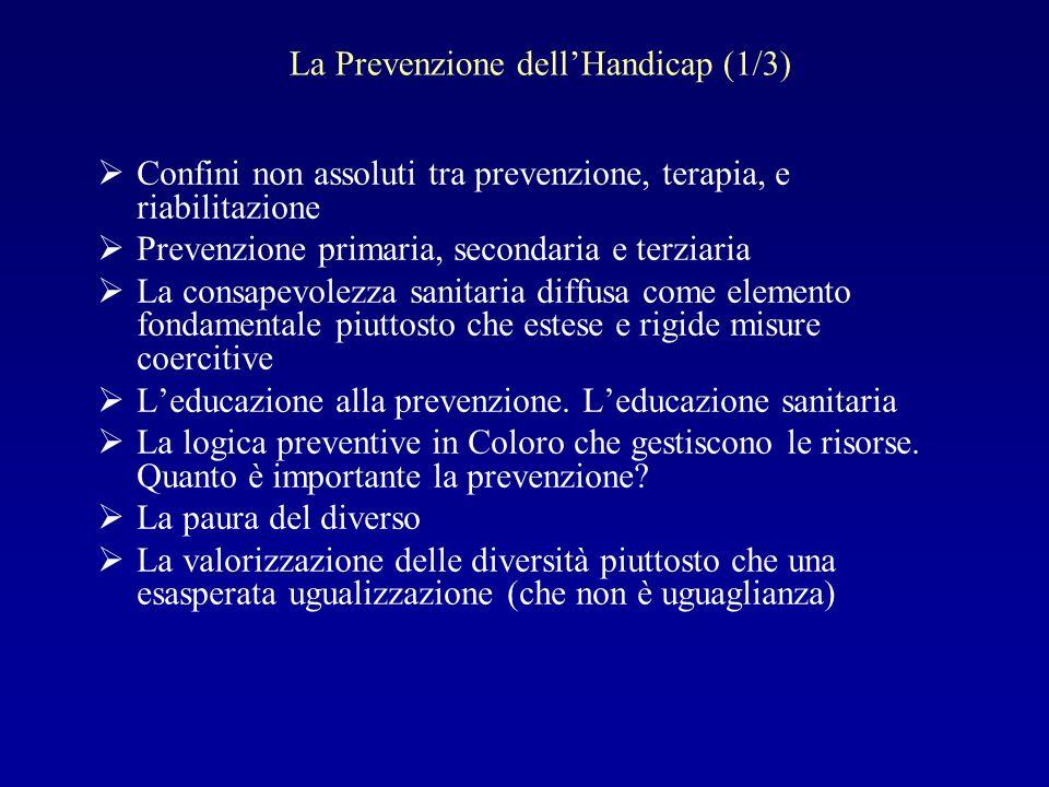 La Prevenzione dellHandicap (1/3) Confini non assoluti tra prevenzione, terapia, e riabilitazione Prevenzione primaria, secondaria e terziaria La cons