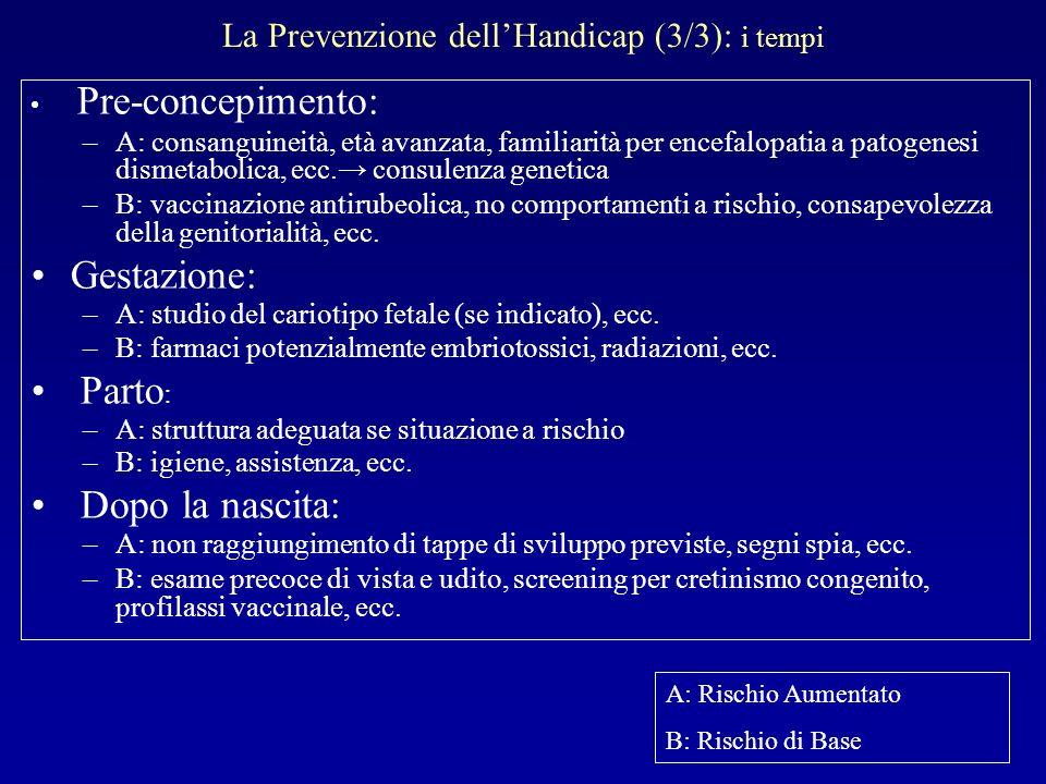 La Prevenzione dellHandicap (3/3): i tempi Pre-concepimento: –A: consanguineità, età avanzata, familiarità per encefalopatia a patogenesi dismetabolic