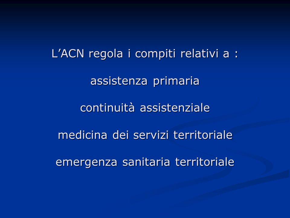 LACN regola i compiti relativi a : assistenza primaria continuità assistenziale medicina dei servizi territoriale emergenza sanitaria territoriale