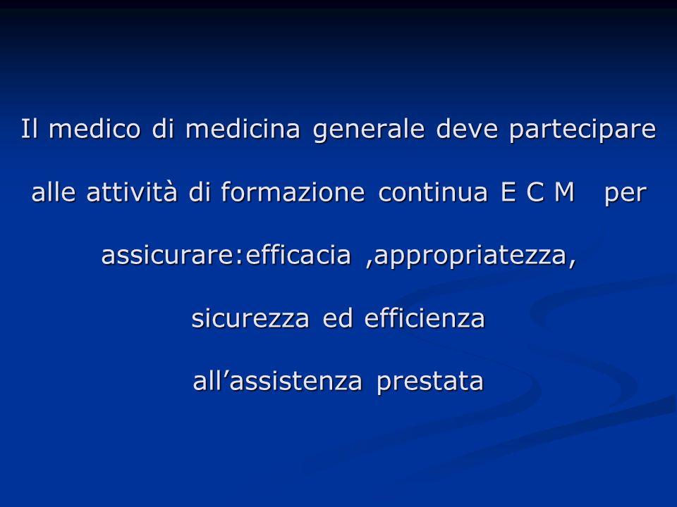 Il medico di medicina generale deve partecipare alle attività di formazione continua E C M per assicurare:efficacia,appropriatezza, sicurezza ed efficienza allassistenza prestata