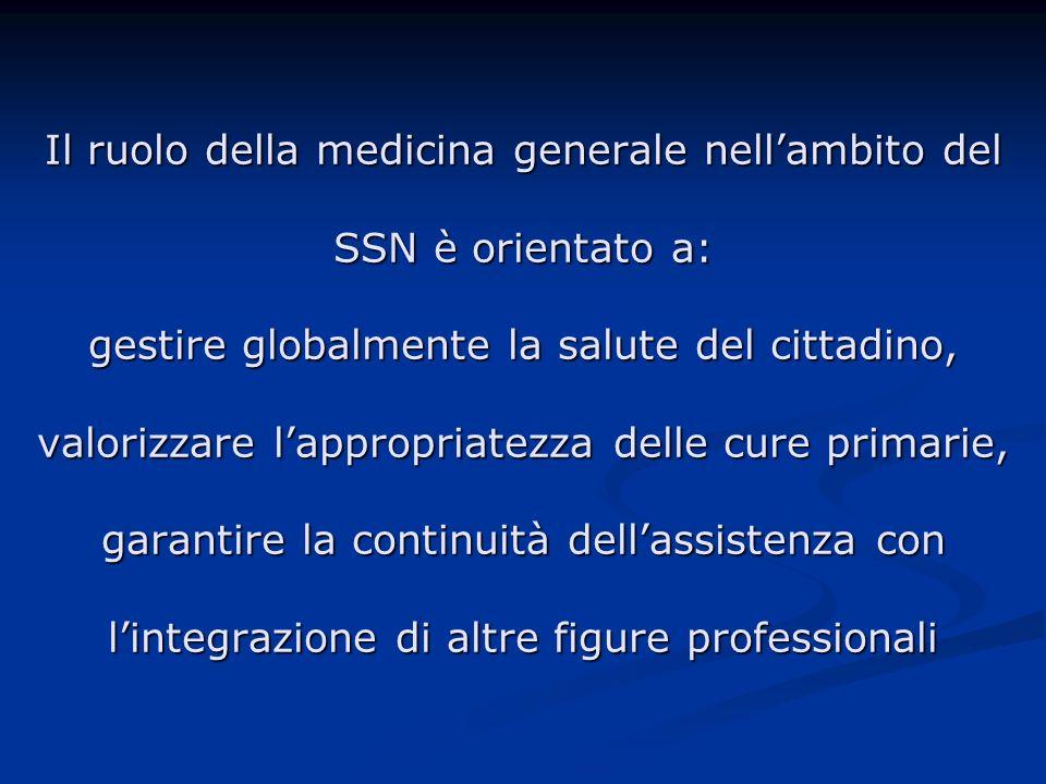 Il ruolo della medicina generale nellambito del SSN è orientato a: gestire globalmente la salute del cittadino, valorizzare lappropriatezza delle cure primarie, garantire la continuità dellassistenza con lintegrazione di altre figure professionali