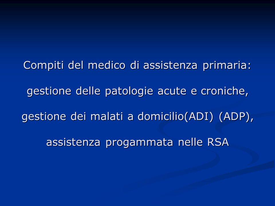 Compiti del medico di assistenza primaria: gestione delle patologie acute e croniche, gestione dei malati a domicilio(ADI) (ADP), assistenza progammat