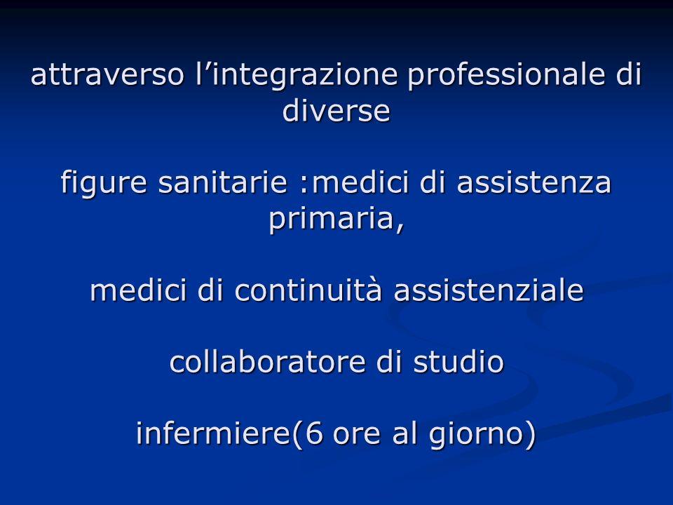 attraverso lintegrazione professionale di diverse figure sanitarie :medici di assistenza primaria, medici di continuità assistenziale collaboratore di