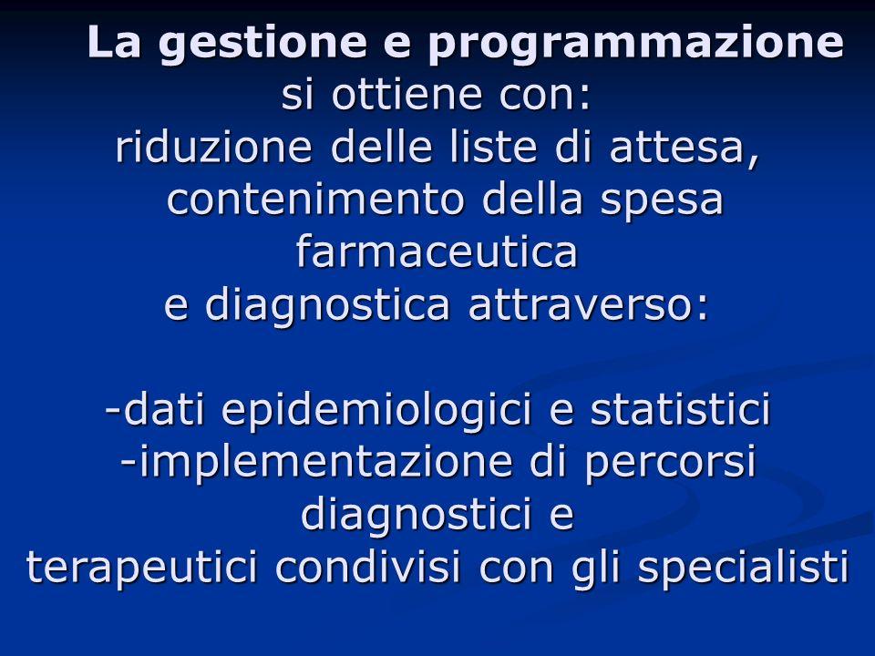 La gestione e programmazione si ottiene con: riduzione delle liste di attesa, contenimento della spesa farmaceutica e diagnostica attraverso: -dati ep