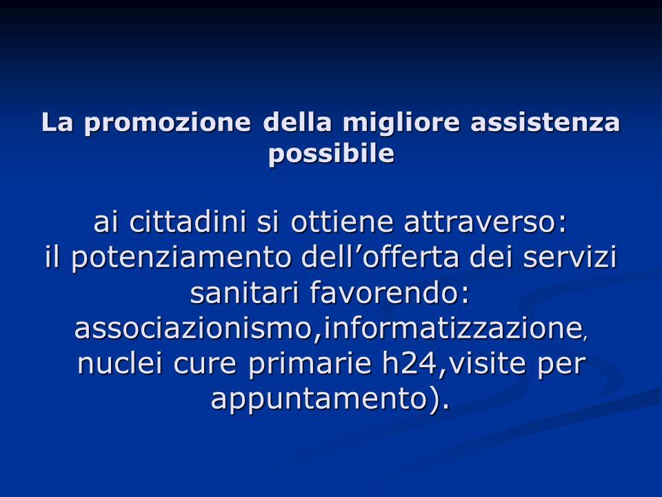 La promozione della migliore assistenza possibile ai cittadini si ottiene attraverso: il potenziamento dellofferta dei servizi sanitari favorendo: associazionismo,informatizzazione, nuclei cure primarie h24,visite per appuntamento).