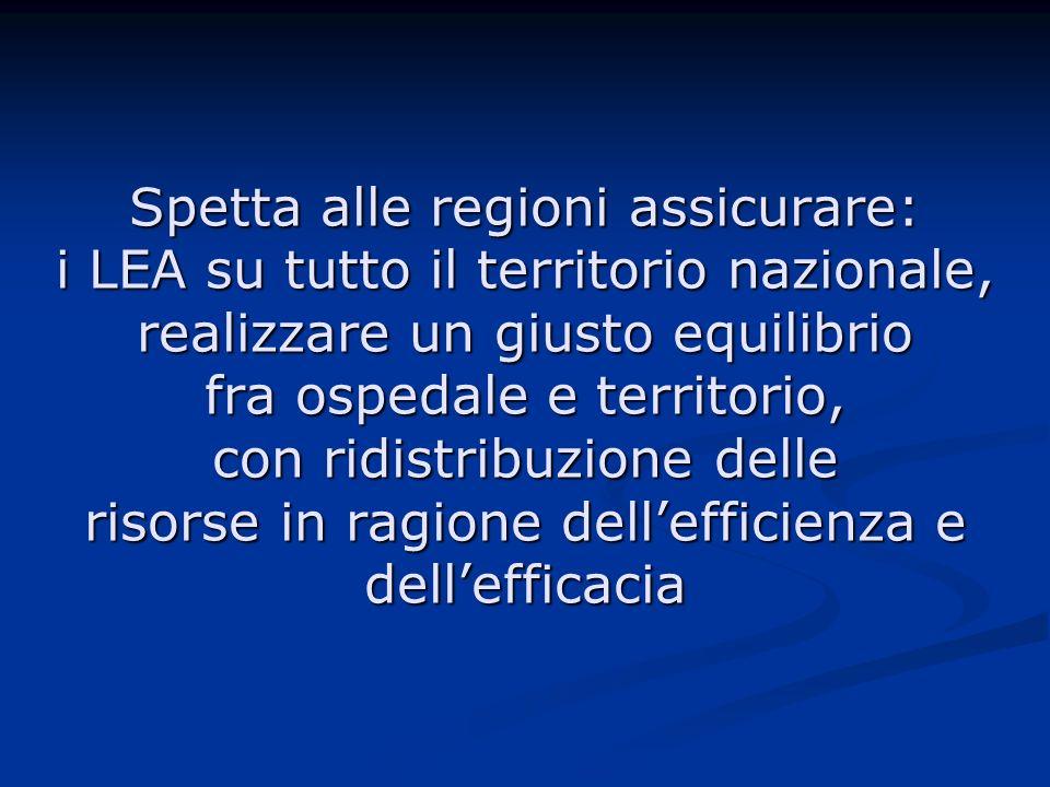 Spetta alle regioni assicurare: i LEA su tutto il territorio nazionale, realizzare un giusto equilibrio fra ospedale e territorio, con ridistribuzione delle risorse in ragione dellefficienza e dellefficacia
