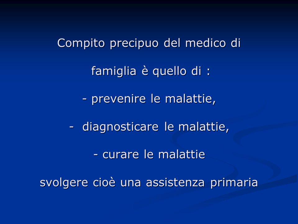 Compito precipuo del medico di famiglia è quello di : - prevenire le malattie, - diagnosticare le malattie, - curare le malattie svolgere cioè una ass