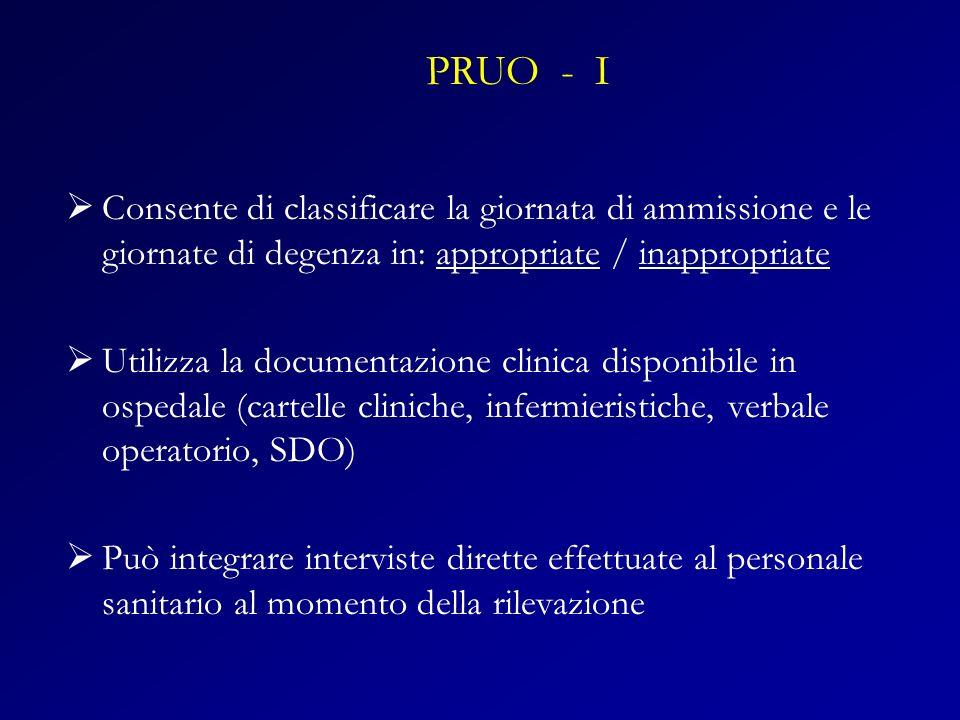 Consente di classificare la giornata di ammissione e le giornate di degenza in: appropriate / inappropriate Utilizza la documentazione clinica disponi