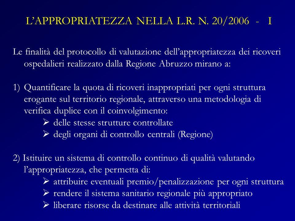 Le finalità del protocollo di valutazione dellappropriatezza dei ricoveri ospedalieri realizzato dalla Regione Abruzzo mirano a: 1)Quantificare la quo