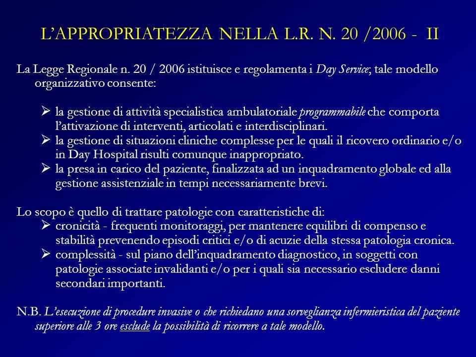 La Legge Regionale n. 20 / 2006 istituisce e regolamenta i Day Service; tale modello organizzativo consente: la gestione di attività specialistica amb