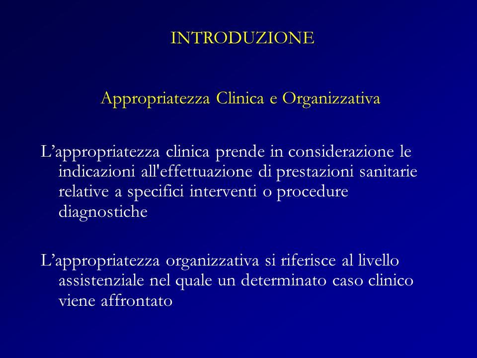 Appropriatezza Clinica e Organizzativa Lappropriatezza clinica prende in considerazione le indicazioni all'effettuazione di prestazioni sanitarie rela