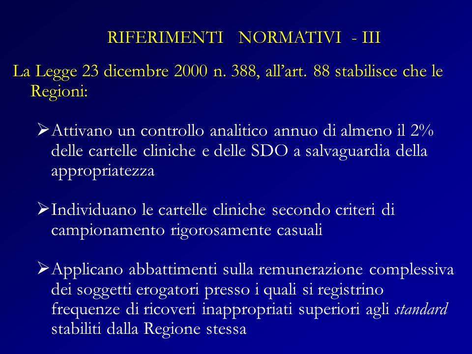 La Legge 23 dicembre 2000 n. 388, allart. 88 stabilisce che le Regioni: Attivano un controllo analitico annuo di almeno il 2% delle cartelle cliniche