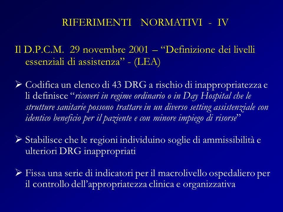 Il D.P.C.M. 29 novembre 2001 – Definizione dei livelli essenziali di assistenza - (LEA) Codifica un elenco di 43 DRG a rischio di inappropriatezza e l