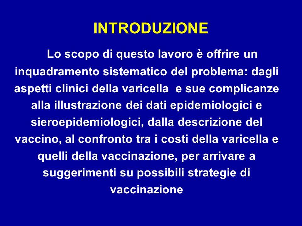 Lo scopo di questo lavoro è offrire un inquadramento sistematico del problema: dagli aspetti clinici della varicella e sue complicanze alla illustrazi