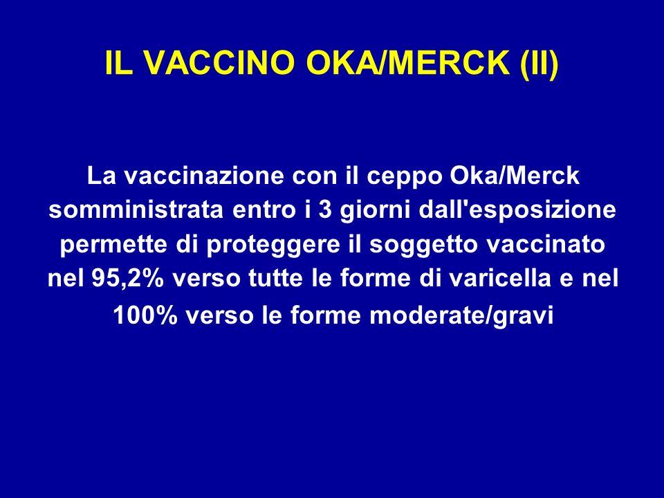 IL VACCINO OKA/MERCK (II) La vaccinazione con il ceppo Oka/Merck somministrata entro i 3 giorni dall'esposizione permette di proteggere il soggetto va