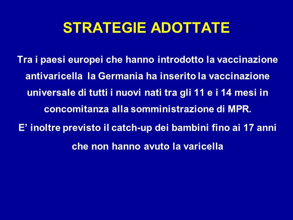 Tra i paesi europei che hanno introdotto la vaccinazione antivaricella la Germania ha inserito la vaccinazione universale di tutti i nuovi nati tra gl