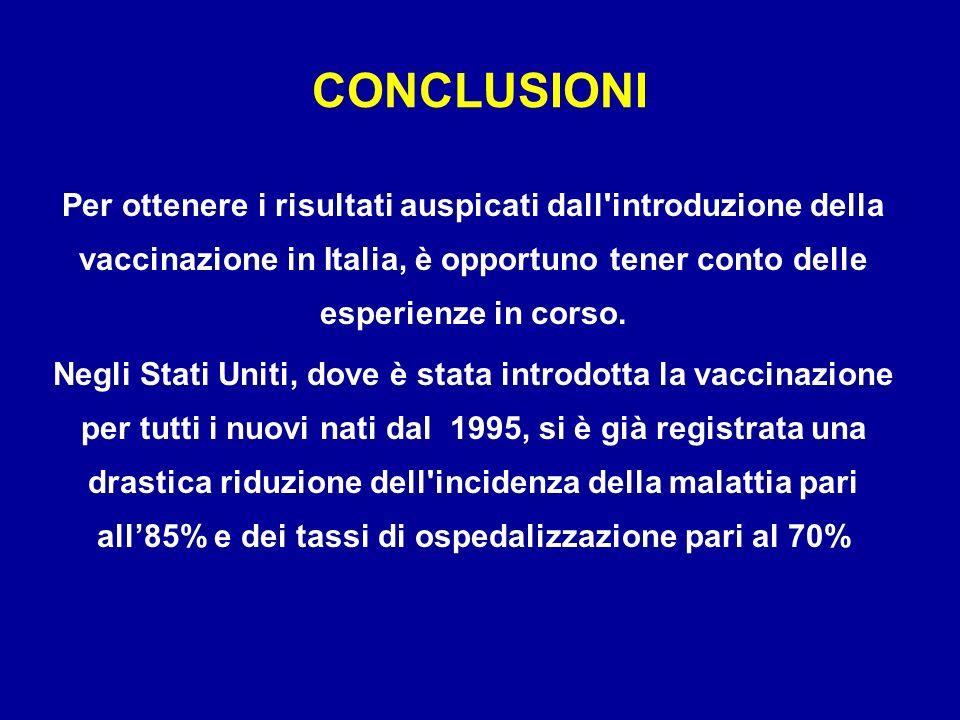 Per ottenere i risultati auspicati dall'introduzione della vaccinazione in Italia, è opportuno tener conto delle esperienze in corso. Negli Stati Unit