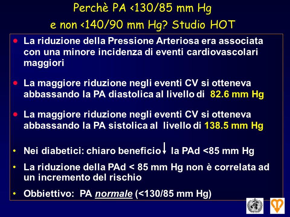 Perchè PA <130/85 mm Hg e non <140/90 mm Hg? Studio HOT La riduzione della Pressione Arteriosa era associata con una minore incidenza di eventi cardio