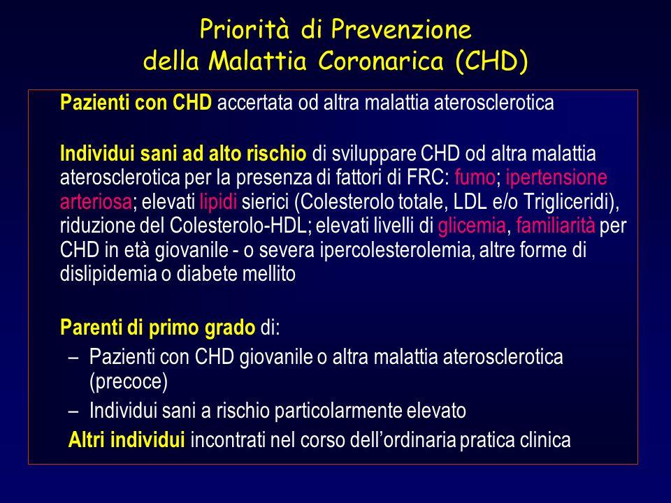 Priorità di Prevenzione della Malattia Coronarica (CHD) Pazienti con CHD accertata od altra malattia aterosclerotica Individui sani ad alto rischio di