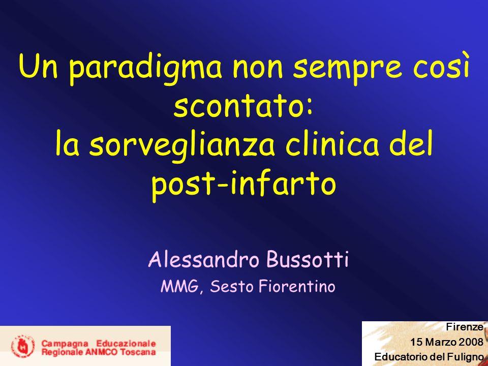 Un paradigma non sempre così scontato: la sorveglianza clinica del post-infarto Alessandro Bussotti MMG, Sesto Fiorentino Firenze 15 Marzo 2008 Educat