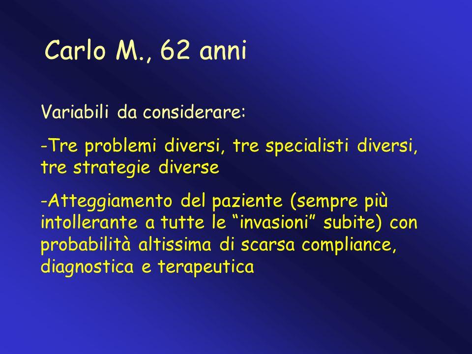 Carlo M., 62 anni Variabili da considerare: -Tre problemi diversi, tre specialisti diversi, tre strategie diverse -Atteggiamento del paziente (sempre