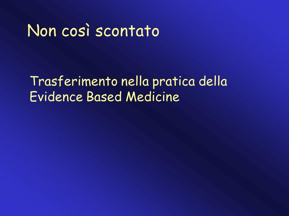 Non così scontato Trasferimento nella pratica della Evidence Based Medicine