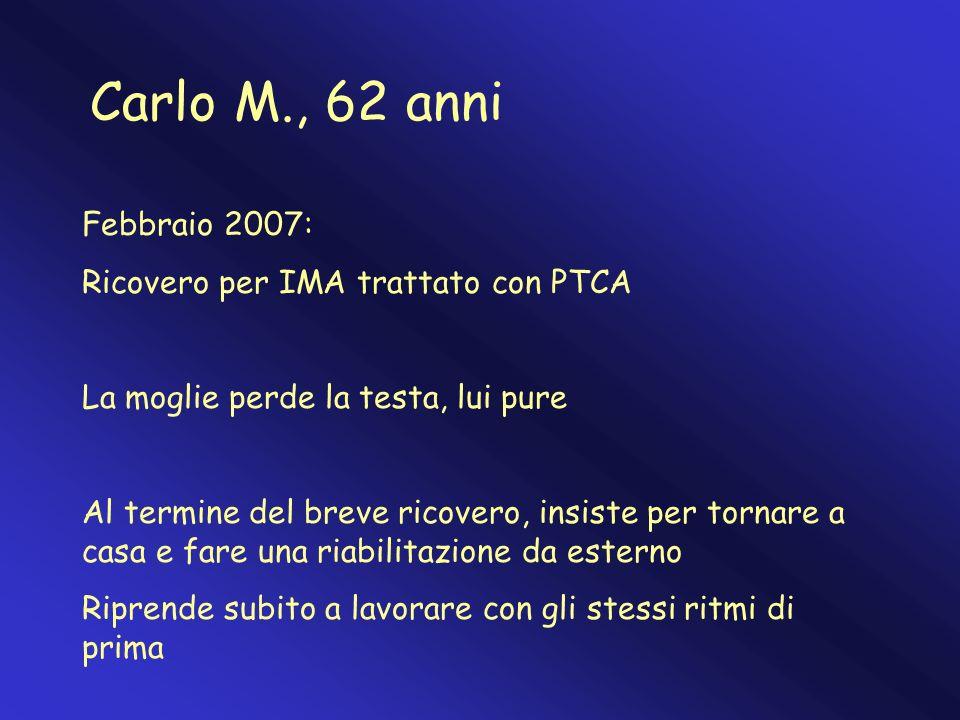 Carlo M., 62 anni Febbraio 2007: Ricovero per IMA trattato con PTCA La moglie perde la testa, lui pure Al termine del breve ricovero, insiste per torn