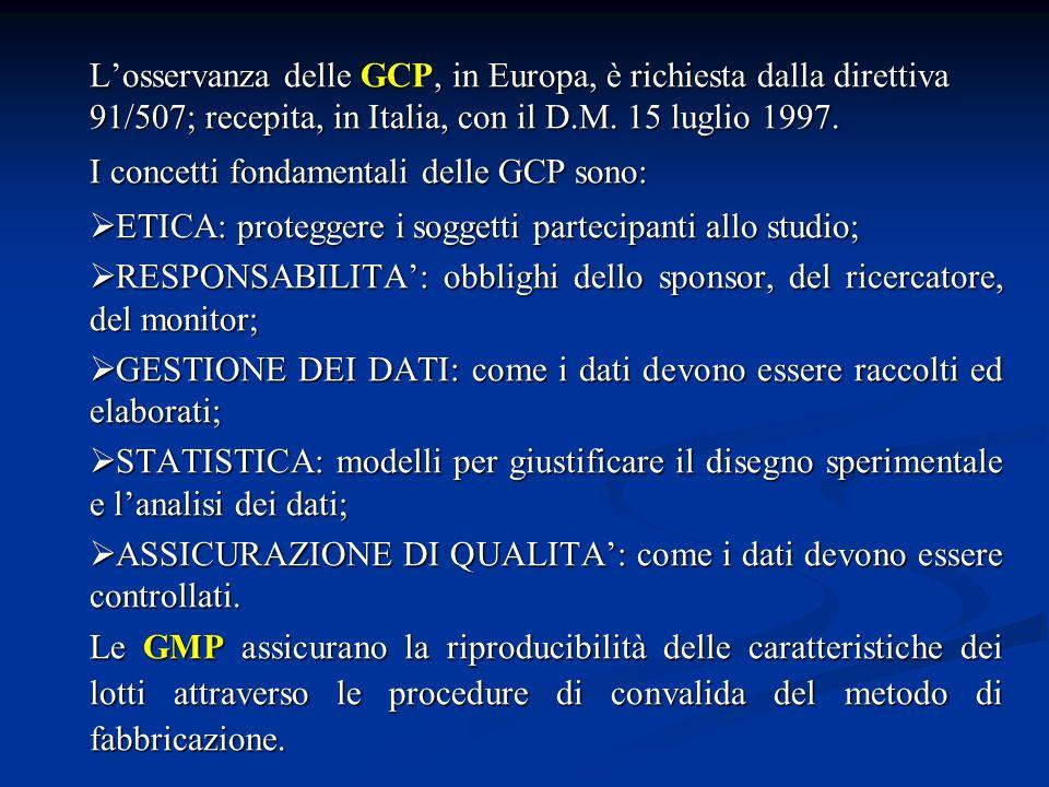 GLP: gli studi che devono essere condotti in GLP sono quelli di: mutagenesi, mutagenesi, tossico-cinetica, tossico-cinetica, farmacodinamica (variabilità individuale, gruppi a rischio).