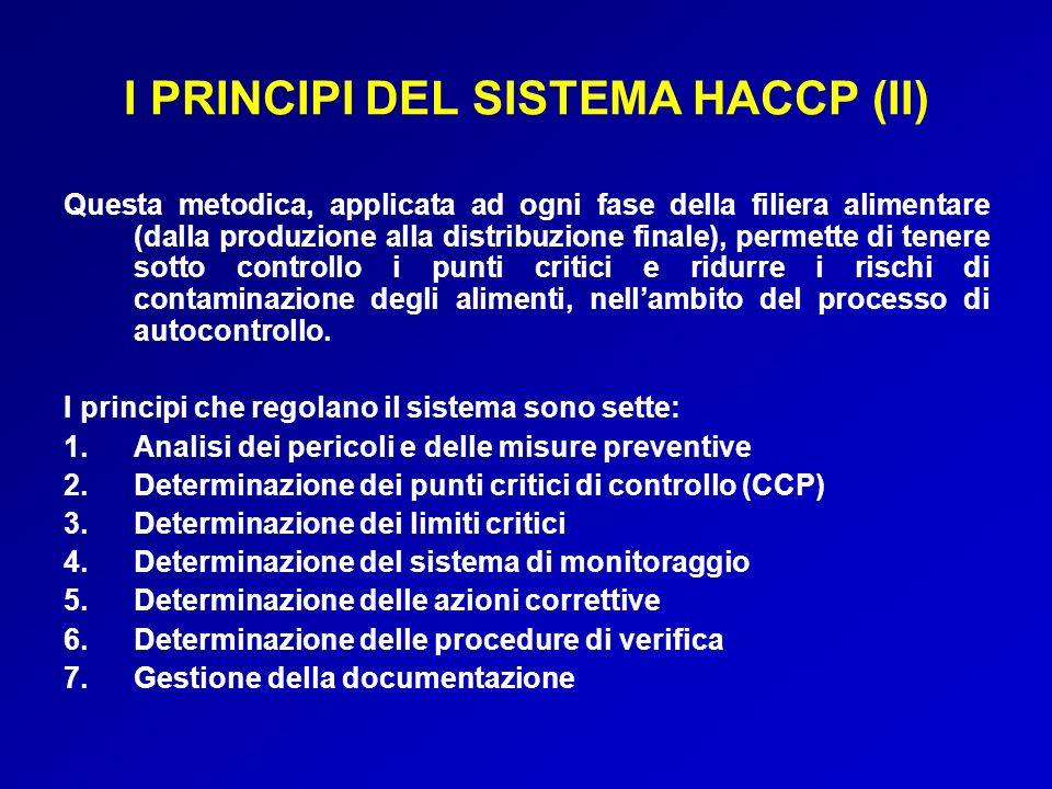 I PRINCIPI DEL SISTEMA HACCP (II) Questa metodica, applicata ad ogni fase della filiera alimentare (dalla produzione alla distribuzione finale), perme