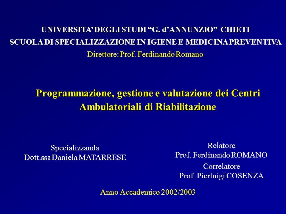 Programmazione, gestione e valutazione dei Centri Ambulatoriali di Riabilitazione Specializzanda Dott.ssa Daniela MATARRESE UNIVERSITA DEGLI STUDI G.