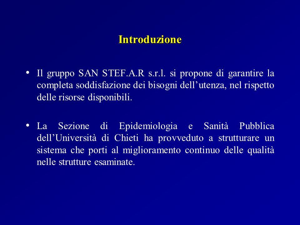 Introduzione Il gruppo SAN STEF.A.R s.r.l. si propone di garantire la completa soddisfazione dei bisogni dellutenza, nel rispetto delle risorse dispon