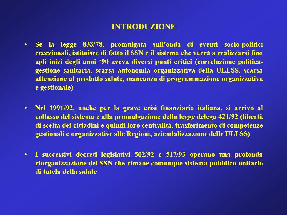 INTRODUZIONE Se la legge 833/78, promulgata sullonda di eventi socio-politici eccezionali, istituisce di fatto il SSN e il sistema che verrà a realizzarsi fino agli inizi degli anni 90 aveva diversi punti critici (correlazione politica- gestione sanitaria, scarsa autonomia organizzativa della ULLSS, scarsa attenzione al prodotto salute, mancanza di programmazione organizzativa e gestionale) Nel 1991/92, anche per la grave crisi finanziaria italiana, si arrivò al collasso del sistema e alla promulgazione della legge delega 421/92 (libertà di scelta dei cittadini e quindi loro centralità, trasferimento di competenze gestionali e organizzative alle Regioni, aziendalizzazione delle ULLSS) I successivi decreti legislativi 502/92 e 517/93 operano una profonda riorganizzazione del SSN che rimane comunque sistema pubblico unitario di tutela della salute