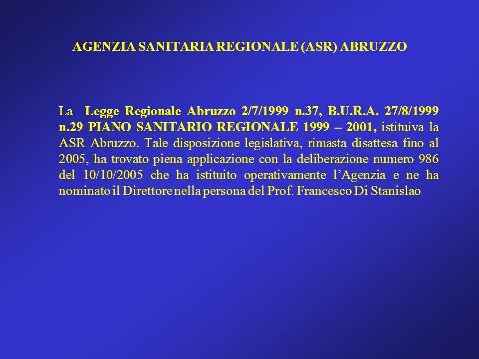 AGENZIA SANITARIA REGIONALE (ASR) ABRUZZO La Legge Regionale Abruzzo 2/7/1999 n.37, B.U.R.A. 27/8/1999 n.29 PIANO SANITARIO REGIONALE 1999 – 2001, ist
