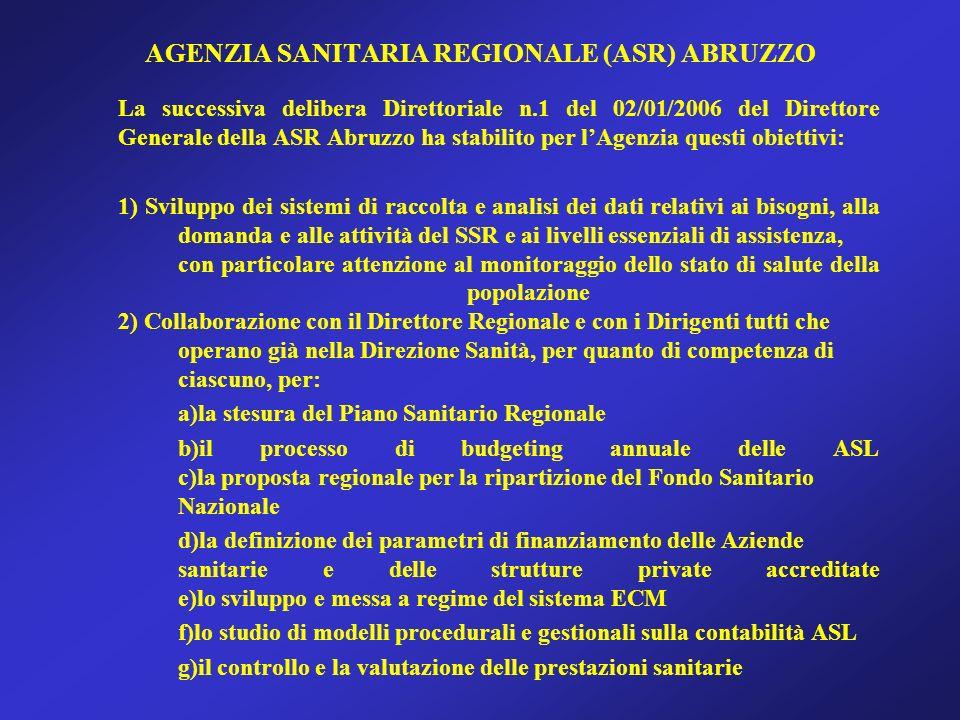 AGENZIA SANITARIA REGIONALE (ASR) ABRUZZO La successiva delibera Direttoriale n.1 del 02/01/2006 del Direttore Generale della ASR Abruzzo ha stabilito per lAgenzia questi obiettivi: 1) Sviluppo dei sistemi di raccolta e analisi dei dati relativi ai bisogni, alla domanda e alle attività del SSR e ai livelli essenziali di assistenza, con particolare attenzione al monitoraggio dello stato di salute della popolazione 2) Collaborazione con il Direttore Regionale e con i Dirigenti tutti che operano già nella Direzione Sanità, per quanto di competenza di ciascuno, per: a)la stesura del Piano Sanitario Regionale b)il processo di budgeting annuale delle ASL c)la proposta regionale per la ripartizione del Fondo Sanitario Nazionale d)la definizione dei parametri di finanziamento delle Aziende sanitarie e delle strutture private accreditate e)lo sviluppo e messa a regime del sistema ECM f)lo studio di modelli procedurali e gestionali sulla contabilità ASL g)il controllo e la valutazione delle prestazioni sanitarie