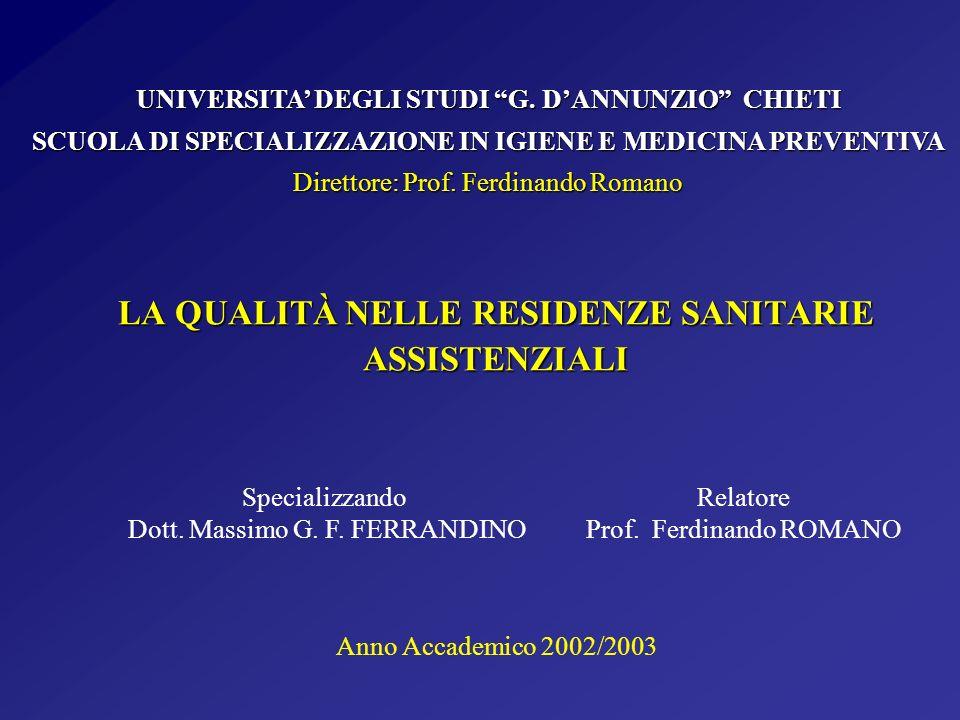 LA QUALITÀ NELLE RESIDENZE SANITARIE ASSISTENZIALI Specializzando Dott. Massimo G. F. FERRANDINO UNIVERSITA DEGLI STUDI G. DANNUNZIO CHIETI SCUOLA DI