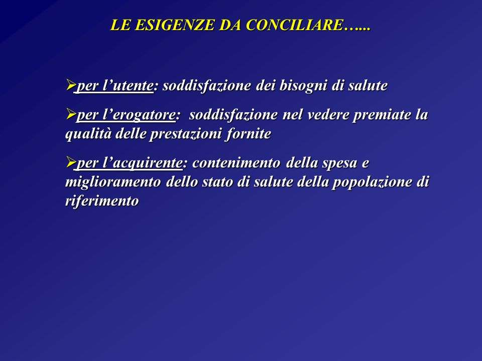 LE ESIGENZE DA CONCILIARE…... per lutente: soddisfazione dei bisogni di salute per lutente: soddisfazione dei bisogni di salute per lerogatore: soddis