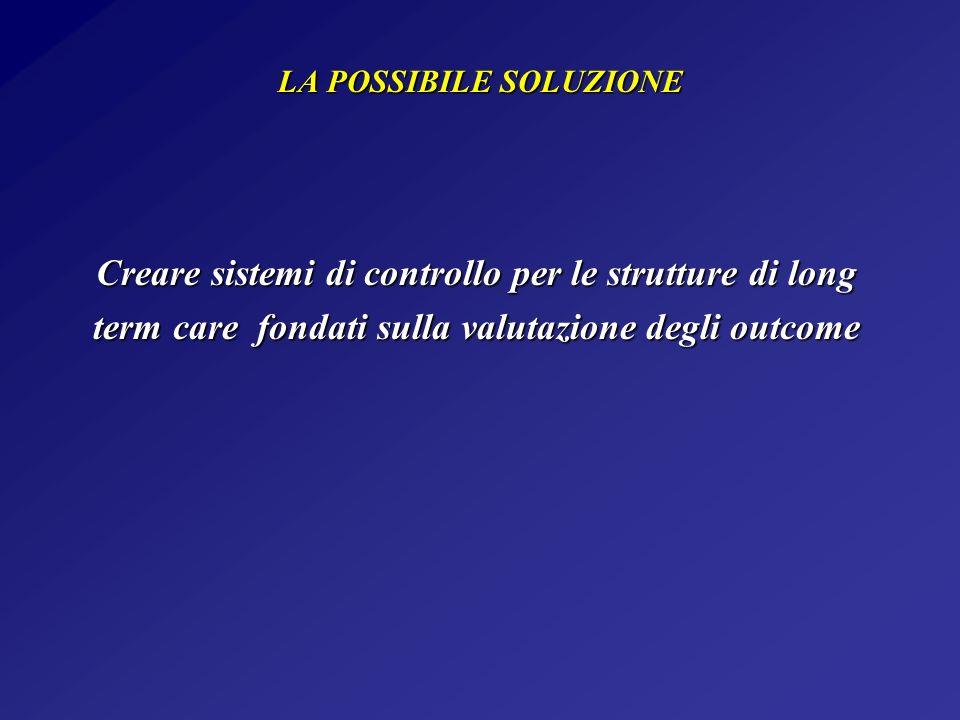LA POSSIBILE SOLUZIONE Creare sistemi di controllo per le strutture di long term care fondati sulla valutazione degli outcome